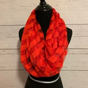 Accessories - Red striped infinity scarf